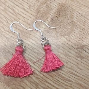 Bright fuschia mini tassel earrings